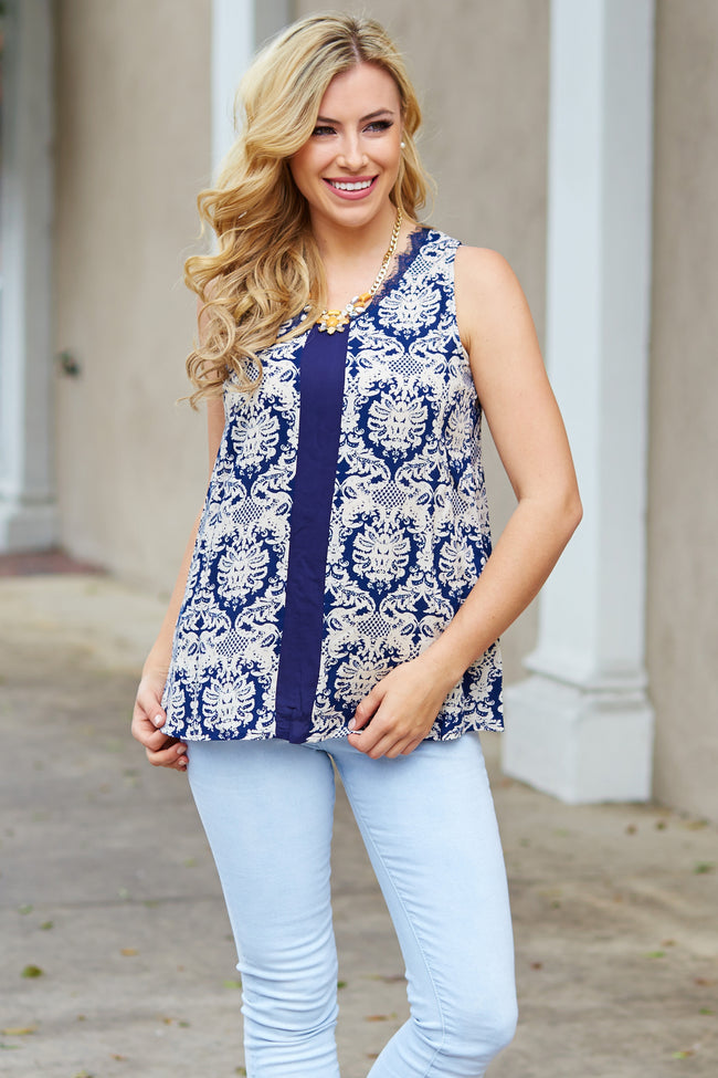 Navy Blue Damask Printed Lace Accent Tank Top