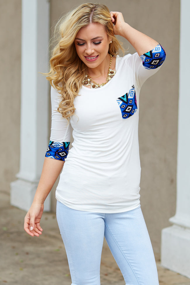 White Blue Aztec Accent Pocket Top