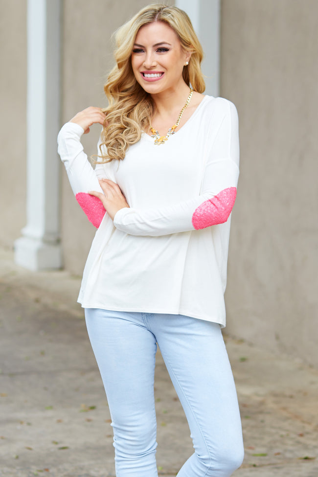 White Neon Pink Sequin Elbow Patch Top