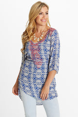 Blue Red Printed Studded Shoulder 3/4 Sleeve Tunic