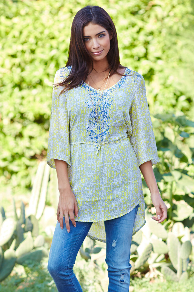 Yellow Blue Printed 3/4 Sleeve Maternity Tunic