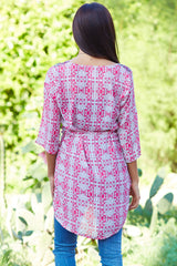 Fuchsia Black Printed Studded Shoulder 3/4 Sleeve Tunic