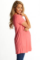 Coral Zipper Back Basic Maternity Top