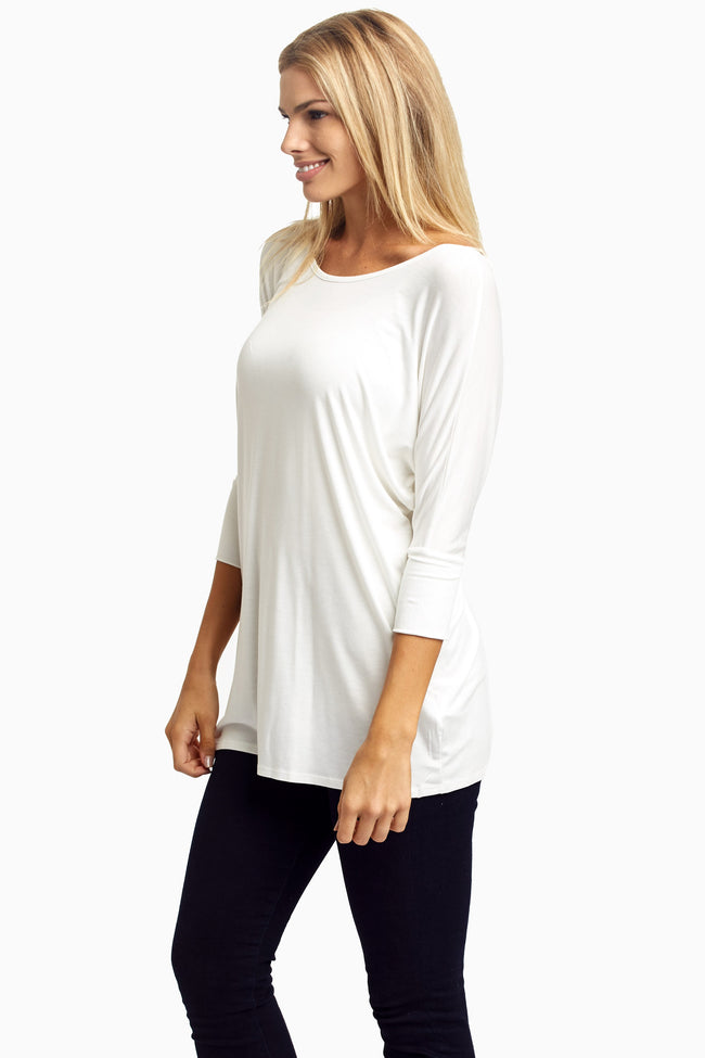 Ivory Braided Accent 3/4 Sleeve Top