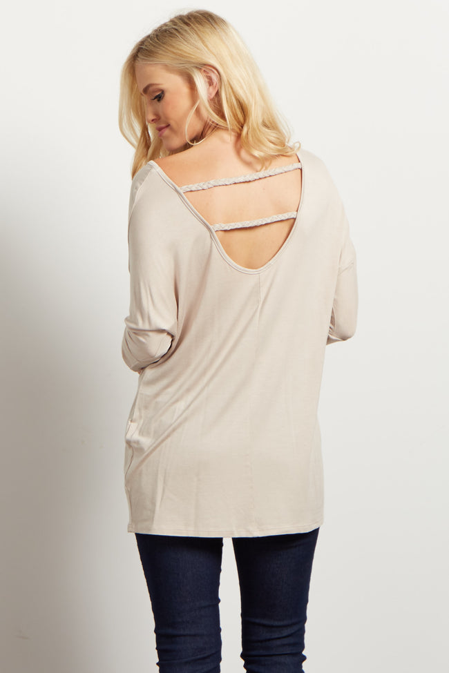 Taupe Braided Accent 3/4 Sleeve Top