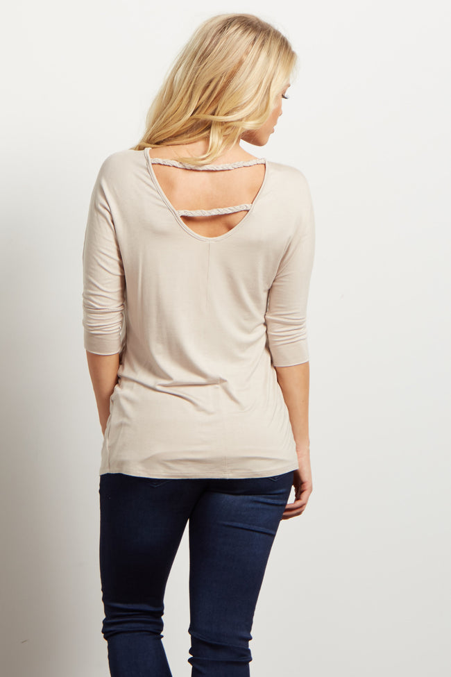 Taupe Braided Accent 3/4 Sleeve Maternity Top
