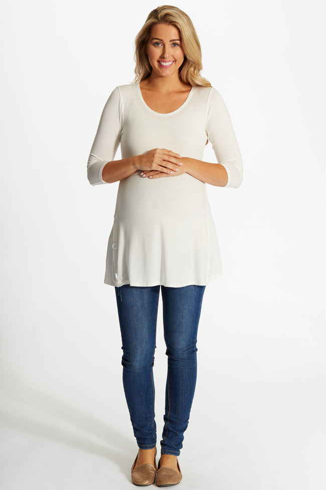 White Basic Button Accent 3/4 Sleeve Maternity Top