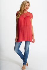 Pink Lace Top Linen Maternity Tunic