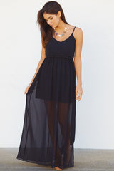 Black Ruffled Top Chiffon Maxi Dress