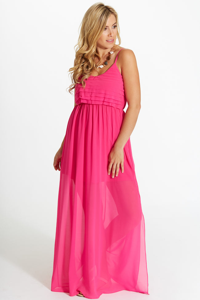 Fuchsia Ruffled Top Chiffon Maxi Dress