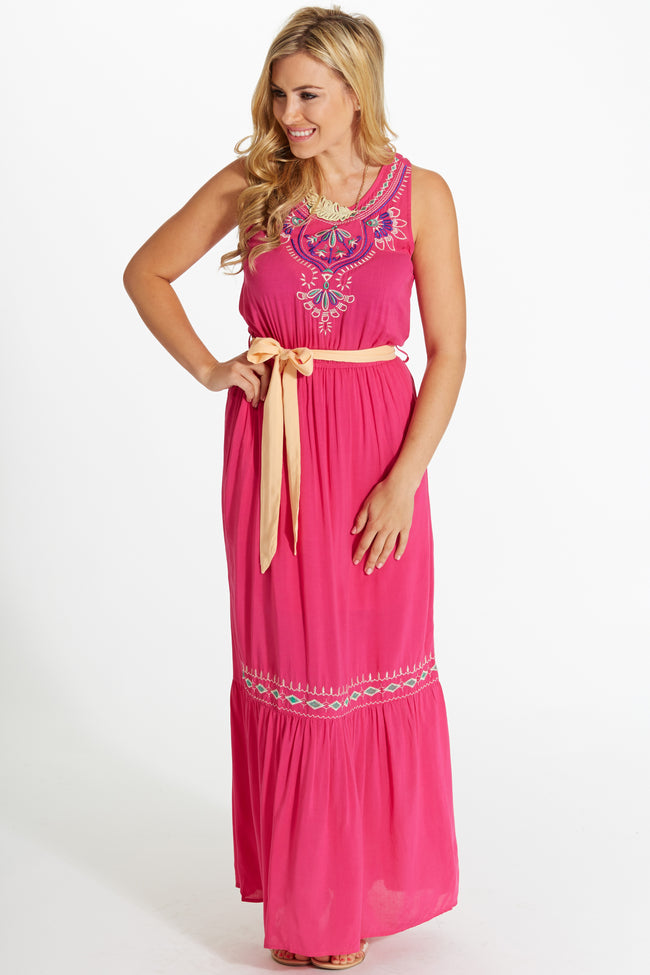 Fuchsia Floral Embroidered Accent Sash Tie Maxi Dress