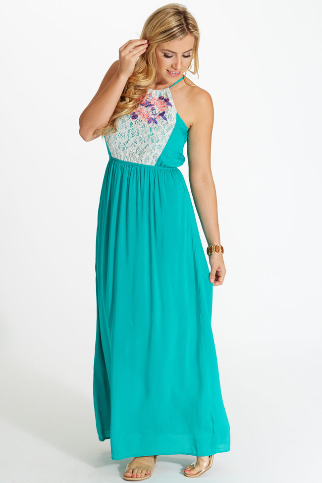 Emerald Floral Embroidered Lace Top Maxi Dress