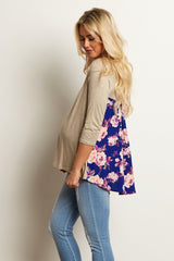Beige Royal Floral Chiffon Back 3/4 Sleeve Maternity Top