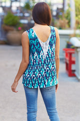 Green Abstract Printed Lace Accent Tank Top