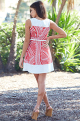 Red White Geometric Print Belted Dress