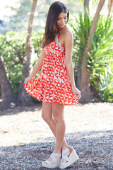Red Ivory Triangle Printed Crochet Accent Dress