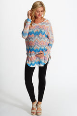 Peach Multi-Colored Printed Wave Knit Maternity Top