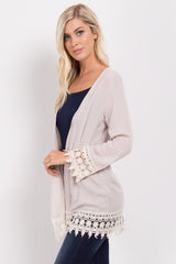 Beige Crochet Trim Cardigan