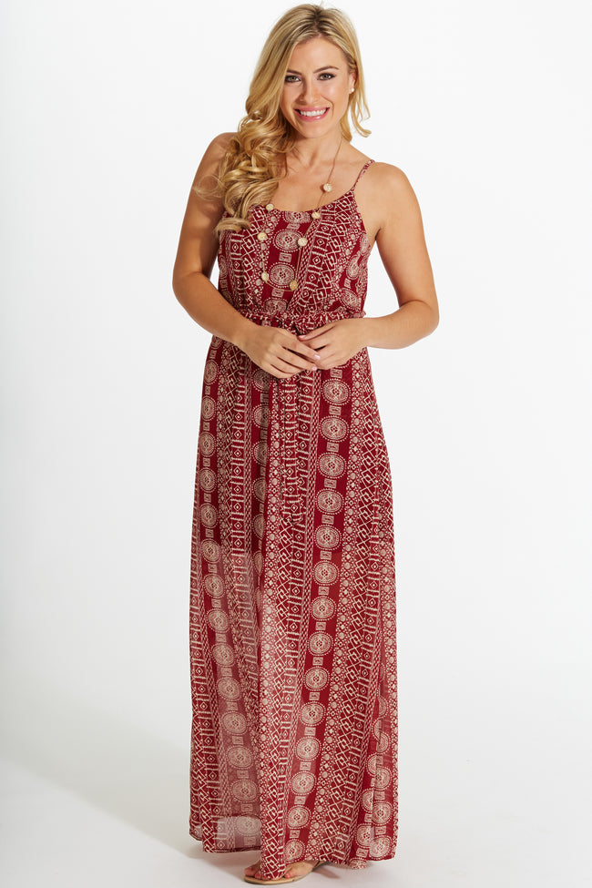 Burgundy Printed Crochet Back Sash Tie Chiffon Maxi Dress