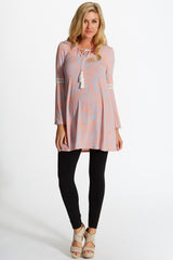 Peach Grey Printed Bell Sleeve Tie Front Maternity Tunic