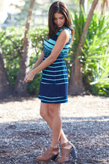 Navy Blue Aqua Alternating Striped Dress