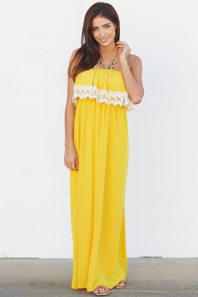 Yellow Crochet Trim Overlay Strapless Maxi Dress
