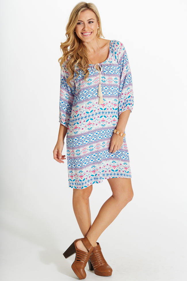 Blue Pink Tribal Ikat Print Tie Front Dress