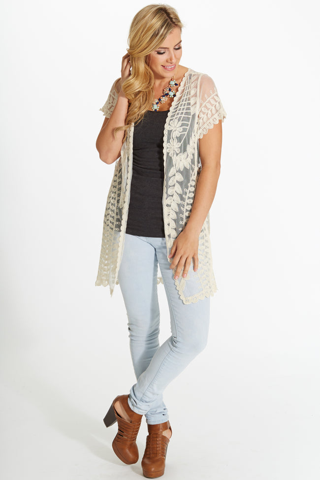 Cream Lace Open Vest