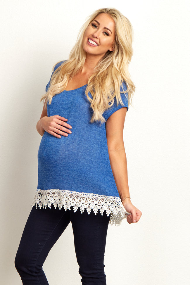 Blue Short Sleeve Knit Lace Trim Maternity Top