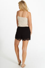 Black Crochet Trim Linen Shorts