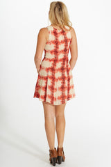 Beige Red Abstract Printed Chiffon Dress