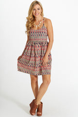 Coral Navy Triangle Print Racerback Dress