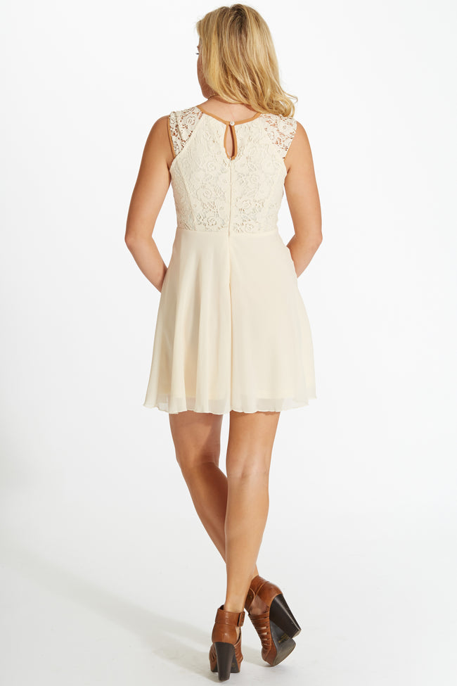 Cream Pink Lace Top Chiffon Bottom Dress