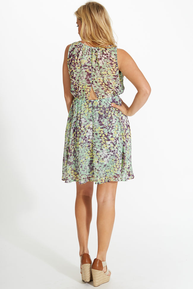 Mint Green Multi-Color Printed Open Back Chiffon Dress