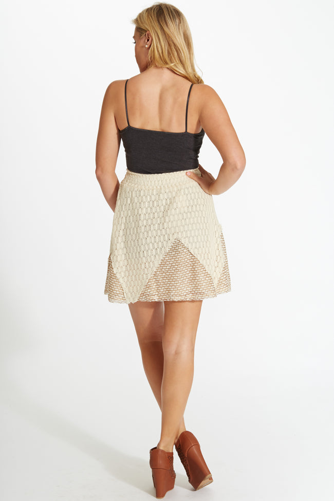 Ivory Mocha Triangle Colorblock Crochet Skirt