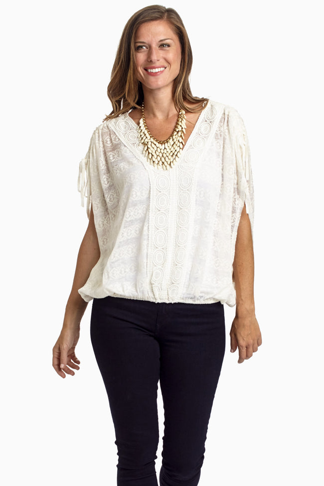 White Crochet Front Tie Shoulder Blouse