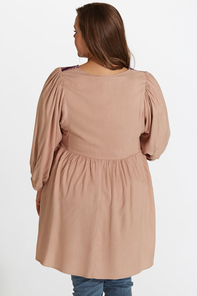 Mocha Embroidered Front Button Up Plus Size Maternity/Nursing Tunic