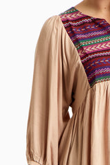 Mocha Embroidered Front Button Up Plus Tunic