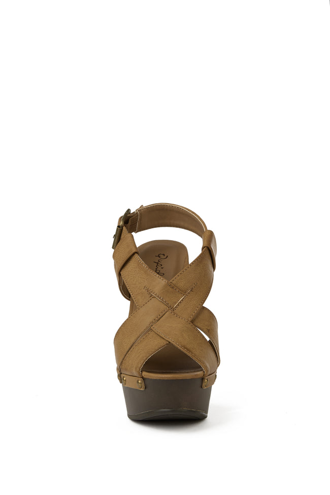 Light Brown Faux Leather Woven Wedge