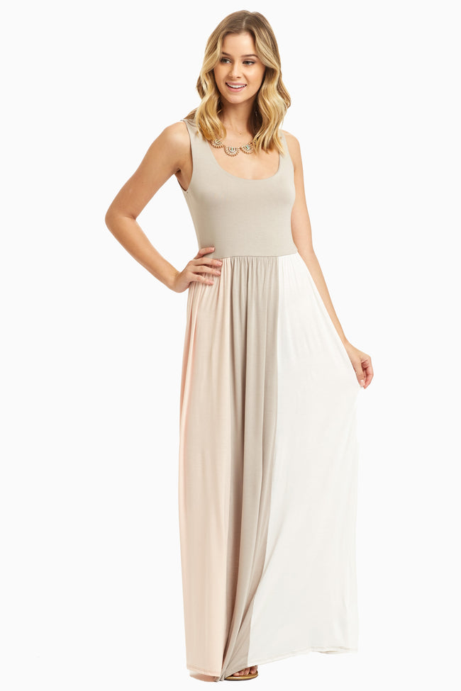 Taupe Pink White Colorblock Maternity Maxi Dress