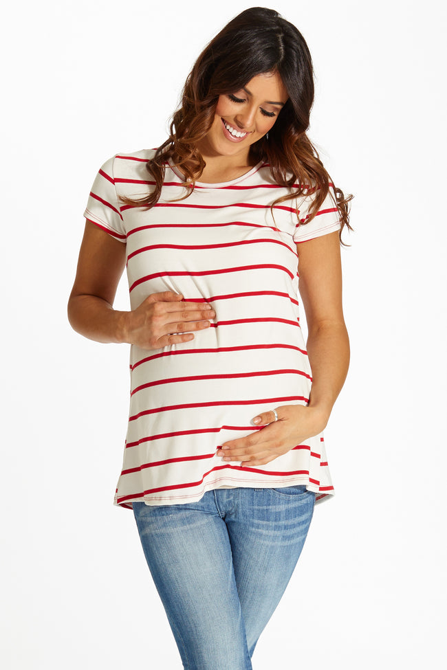 Ivory Red Striped Button Back Short Sleeve Maternity Top