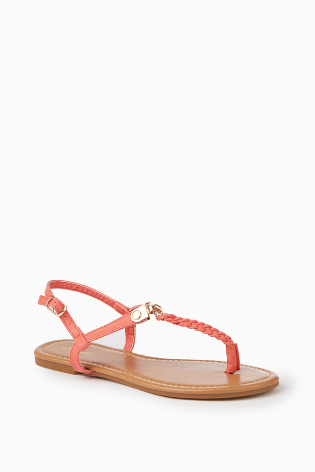 Coral Braided T-Strap Sandal