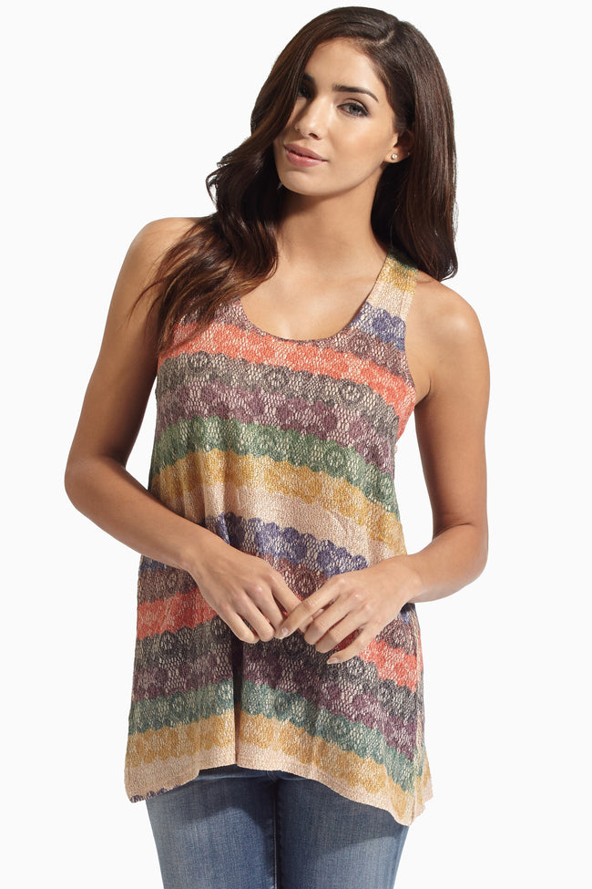 Multi-Colored Striped Lace Print Knit Racerback Tank Top