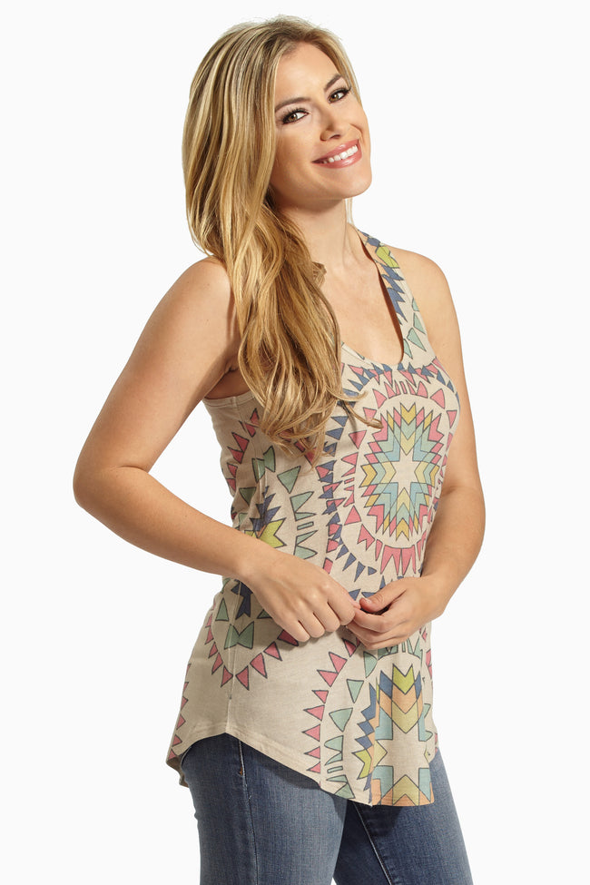 Beige Multi-Color Kaleidoscope Print Tank Top