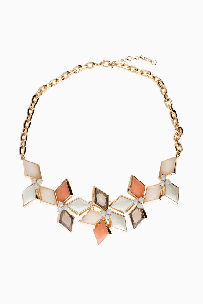 Peach Ivory Grey Diamond Shaped Jewel Statement Necklace/Earring Set