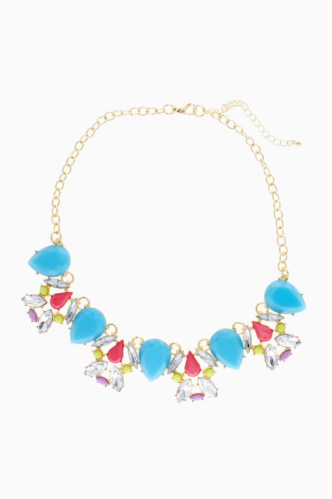 Aqua Teardrop Neon Accent Necklace/Earring Set