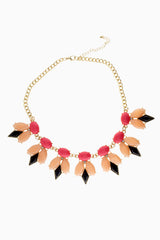 Neon Pink Black Spike Statement Necklace/Earring Set