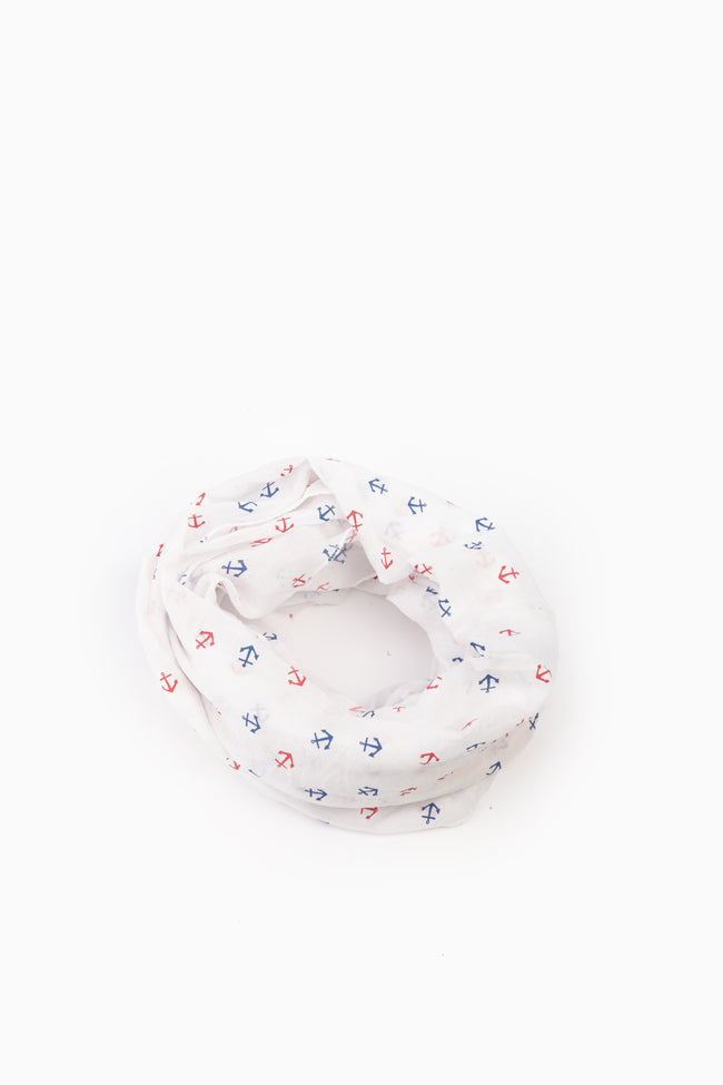 White Red Blue Anchor Print Infinity Scarf