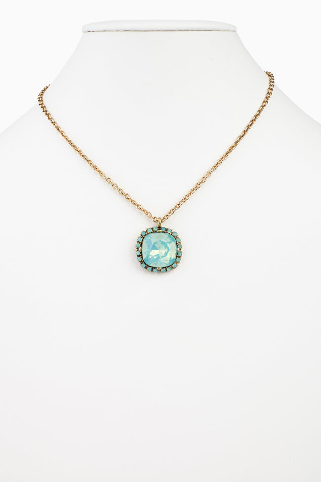 Mint Green Square Jeweled Pendant Necklace