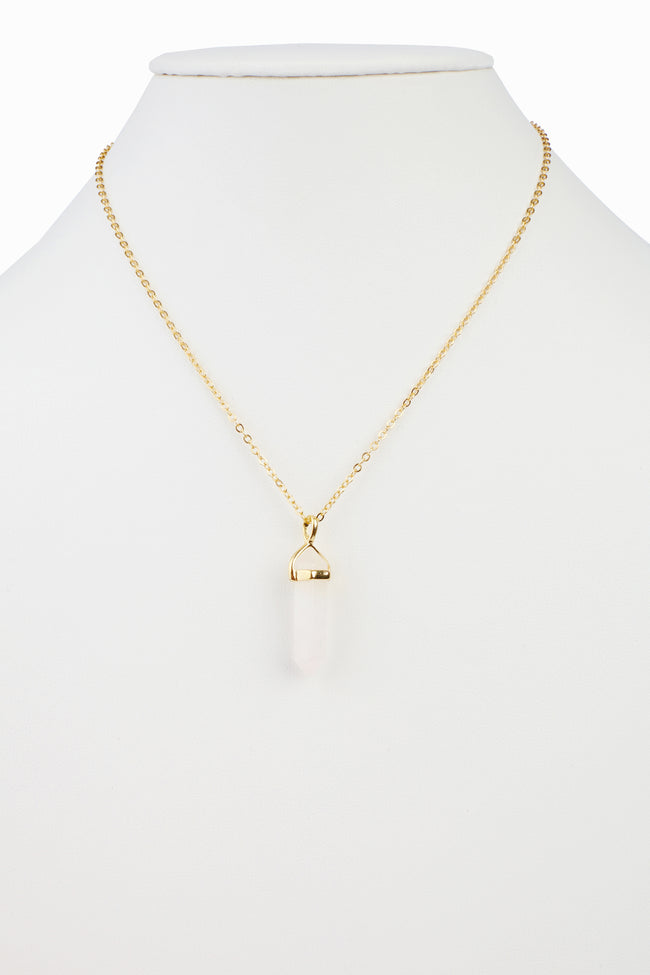 Pale Pink Crystal Stone Pendant Necklace